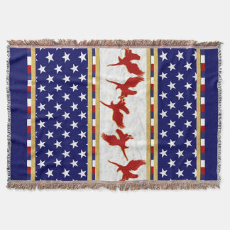 USA Stars Red Bald Eagle Throw Blanket