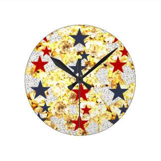 USA STARS ROUND CLOCK