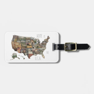 USA State Collage Luggage Tag