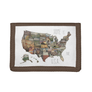 USA State Collage Trifold Wallets