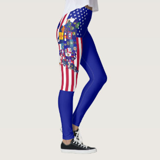 USA State Flag Map 90 degree full bleed right Leggings
