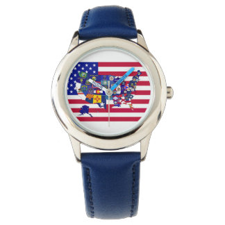 USA State flags map watch