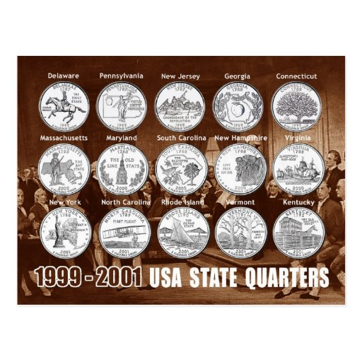 USA State Quarters (Coins) 1999 - 2001 Post Cards
