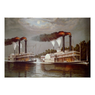 USA Steamers Race nineteenth century Poster