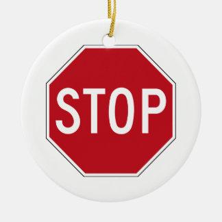 USA Stop Sign Ceramic Ornament