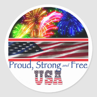 USA Strong Classic Round Sticker