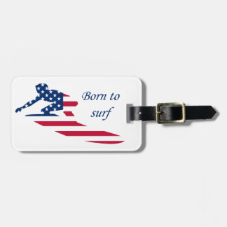USA surfing American surfer Luggage Tag