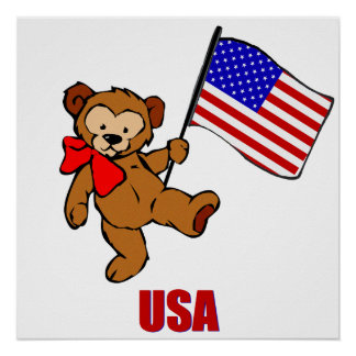 USA Teddy Bear Poster