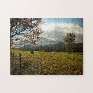 USA, Tennessee. Horses In Cades Cove Valley Jigsaw Puzzle