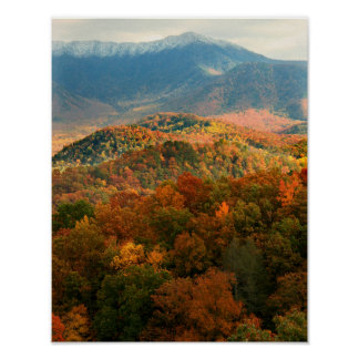 USA, Tennessee. View Of Snowy Mount Leconte Poster