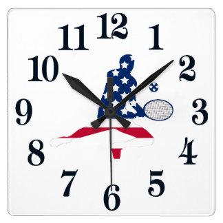 USA Tennis American player Square Wall Clock