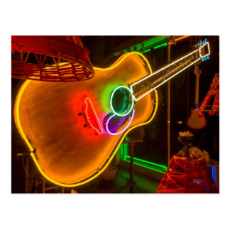 USA, Texas, Austin. Neon Guitar At Blackmail Postcard