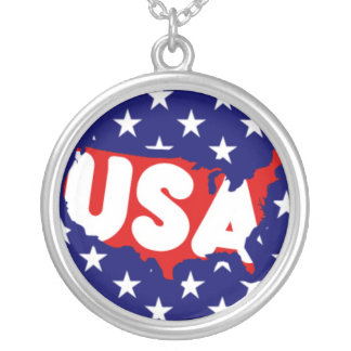 USA text and Map on Stars Round Pendant Necklace