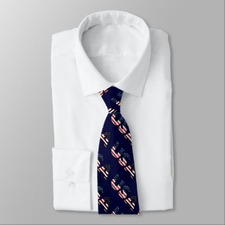 USA text flag blue red glitters sparkles pattern Tie