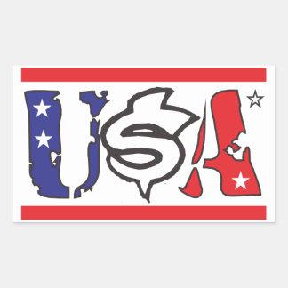 usa the united states of america rectangular sticker