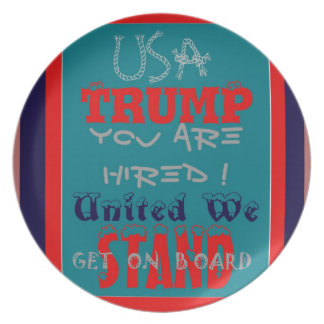 USA Trump You Are Hired! United We Stand Get On! Plate