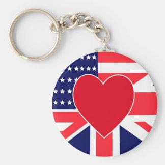 USA/UK Love Key Ring