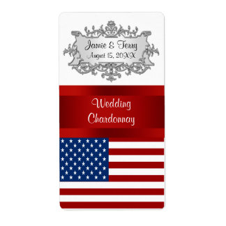 USA United States Flag Event Party Wine Label