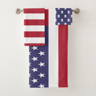 USA United States of America American Flag Bath Towel Set