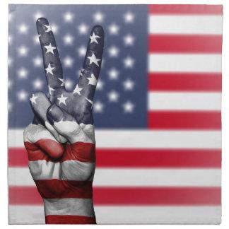 Usa United States Us America Peace Hand Nation Napkin
