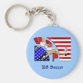 USA US soccer strike American flag artwork gifts Basic Round Button Key Ring