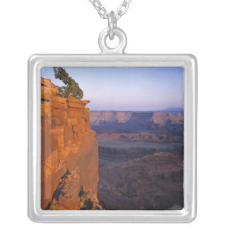 USA, Utah, Dead Horse Point SP. Late light turns Square Pendant Necklace