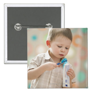 USA, Utah, Lehi, boy (2-3) brushing teeth 15 Cm Square Badge