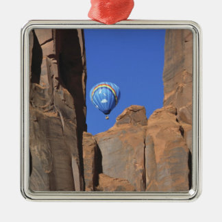 USA, Utah, Monument Valley. A rainbow hot-air Silver-Colored Square Decoration