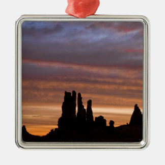 USA, Utah, Monument Valley National Park. 2 Silver-Colored Square Decoration