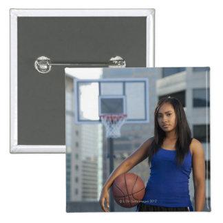 USA, Utah, Salt Lake City, young woman holding 15 Cm Square Badge
