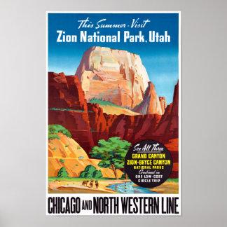 USA Utah Vintage Travel Poster Restored