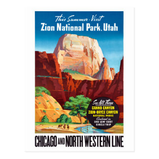 USA Utah Vintage Travel Poster Restored Postcard