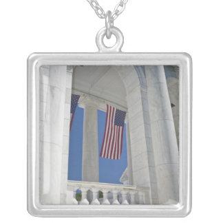 USA, VA, Arlington. American Flags are hung Square Pendant Necklace