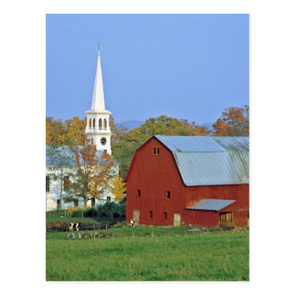 USA, Vermont, Peacham. A red barn and white Postcard