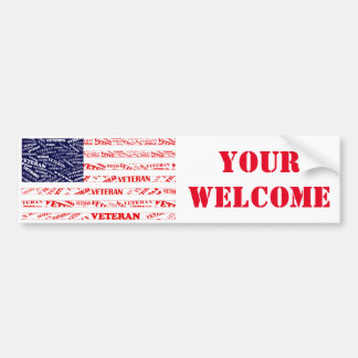 USA Veteran YOUR WELCOME Bumper Sticker