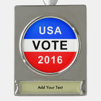 USA VOTE 2016 SILVER PLATED BANNER ORNAMENT