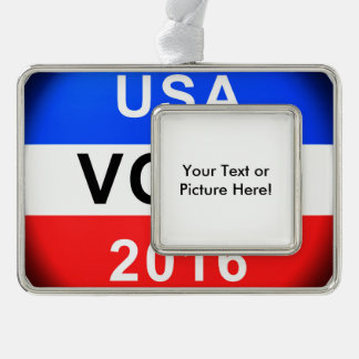 USA VOTE 2016 SILVER PLATED FRAMED ORNAMENT