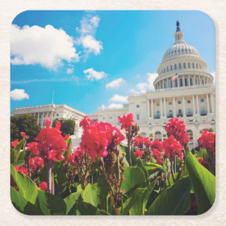 USA, Washington DC, Capitol Building Square Paper Coaster