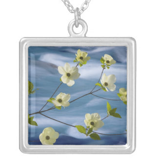 USA, Washington, Hood Canal. Pacific dogwood Square Pendant Necklace