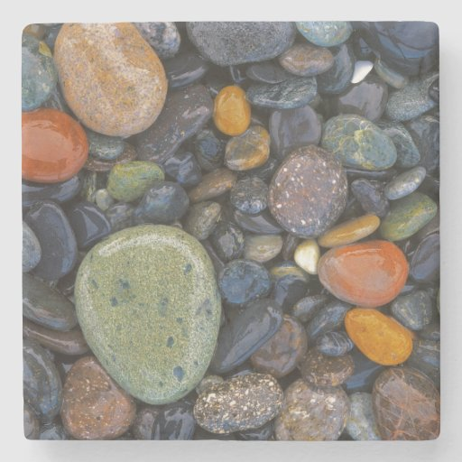 USA, Washington, Lopez Island, Agate Beach Stone Beverage Coaster