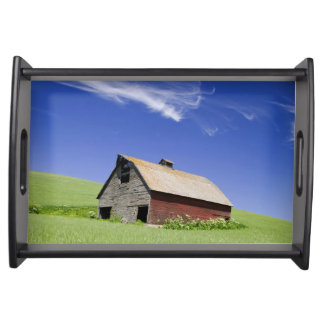USA, Washington, Old Red Barn in the Spring Serving Tray