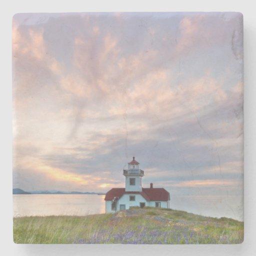 USA, Washington, San Juan Islands. Sunset Stone Coaster