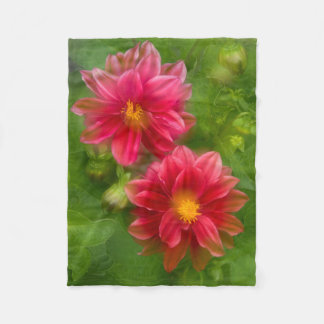 USA, Washington, Whidbey Island. Dahlia montage Fleece Blanket