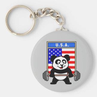 USA Weightlifting Panda Basic Round Button Key Ring