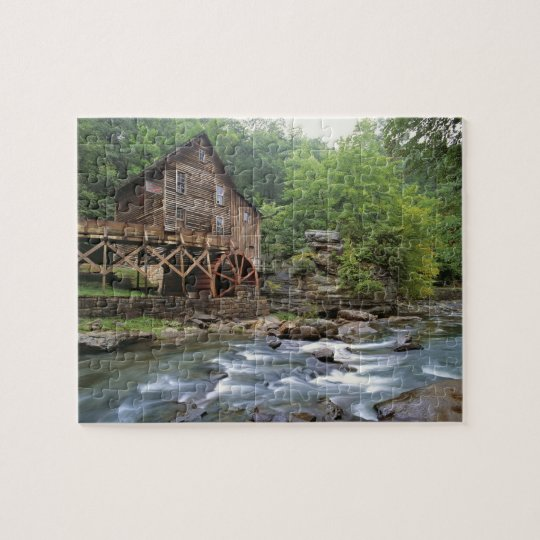 USA, West Virginia, Babcock SP. Rustic Glade Jigsaw Puzzle