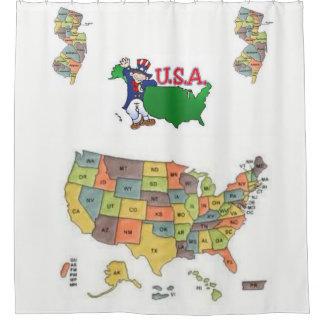 USA white map showercurtain globe Shower Curtain