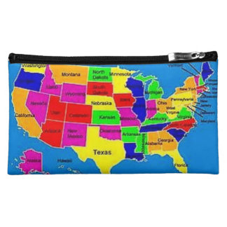 usa world map baggette cosmetic bag