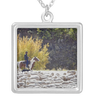 USA, Wyoming, Evanston. Cowboy herding sheep. Square Pendant Necklace