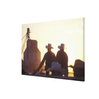 USA, Wyoming, Pine Bluffs. Two men shake Gallery Wrapped Canvas