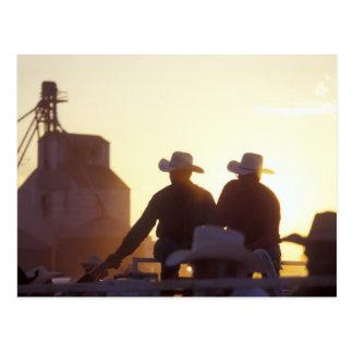 USA, Wyoming, Pine Bluffs. Two men shake Postcard